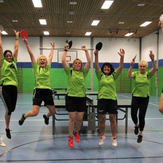 Allen Grund zur Freude hatte das Hüttenfelder Damen-Tischtennisteam nach seinem 6:4-Erfolg in Kirschhausen.